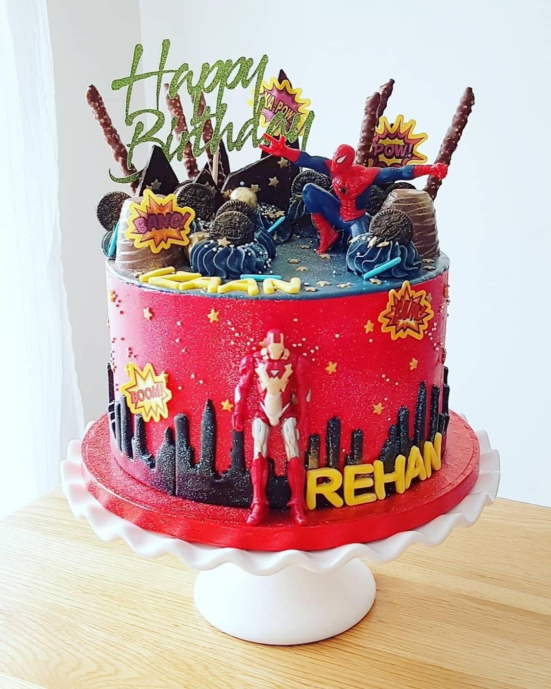 Spiderman and Iron man cake