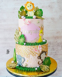 Pink and Gold Jungle Cake