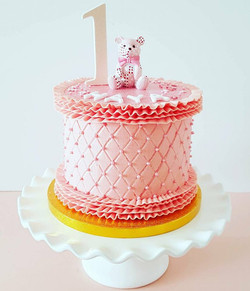 1st Birthday Pink Teddy Bear Cake