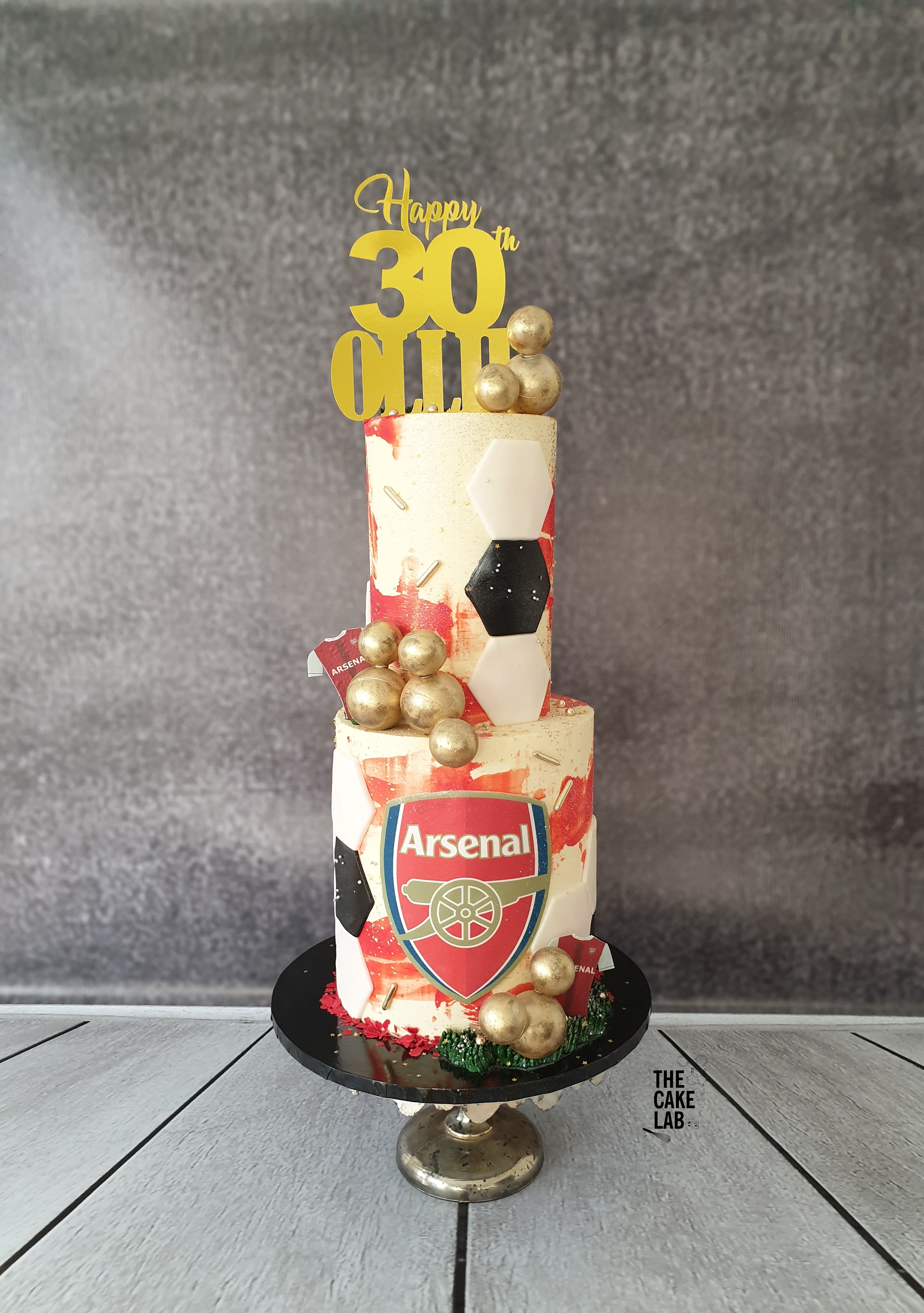 2 tier Abstract Arsenal Cake