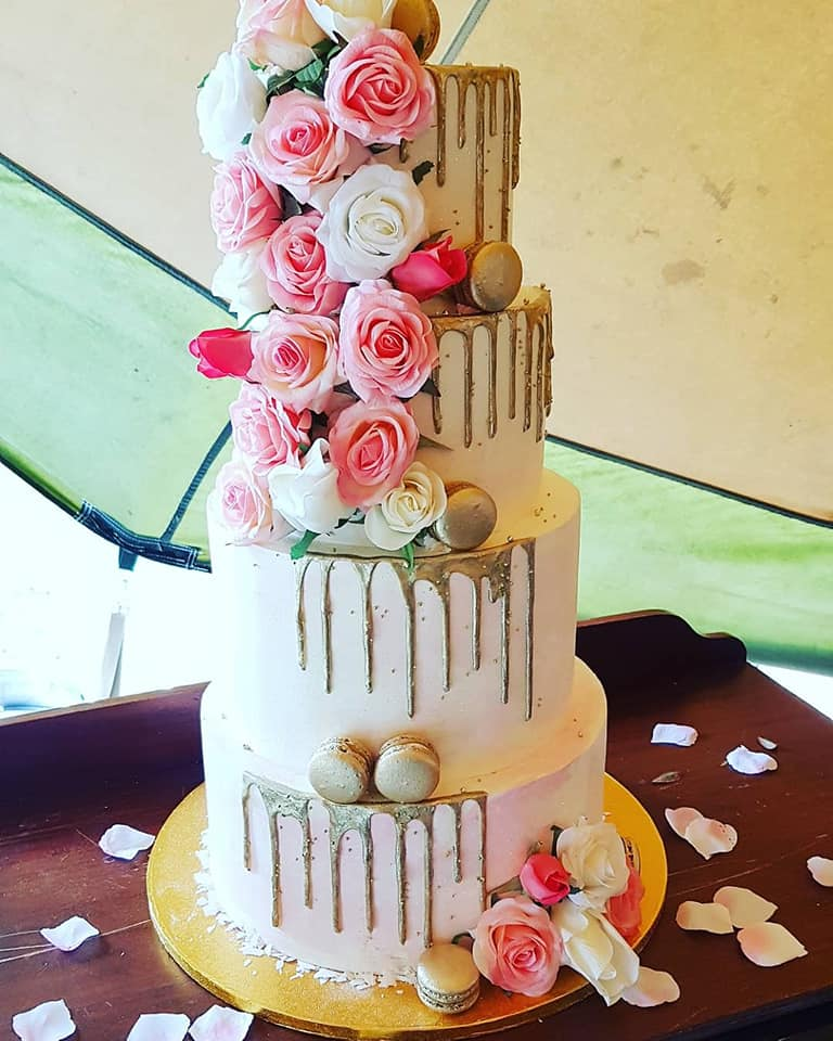 4 Tier Gold Drip and Floral Cake