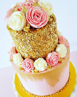 Pink and Gold Sequin Cake