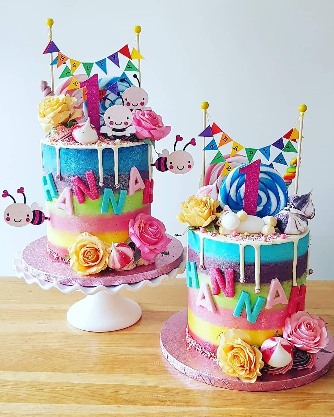 Matching Rainbow cakes