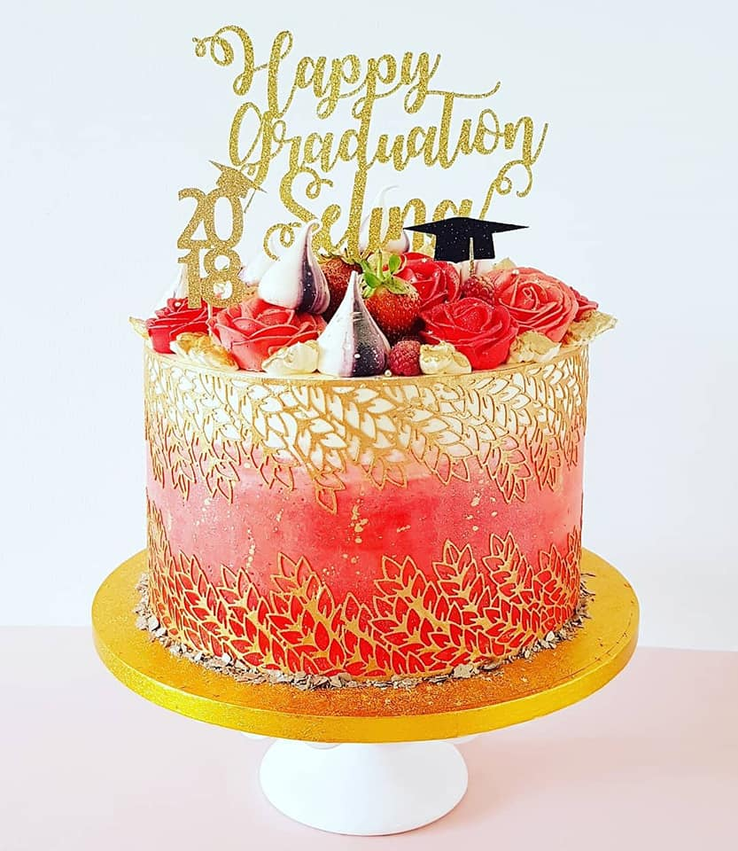 Red Ombre Graduation Cake