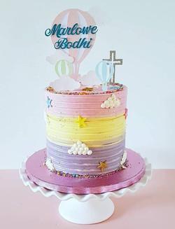 Hot Air Balloon Christening Cake