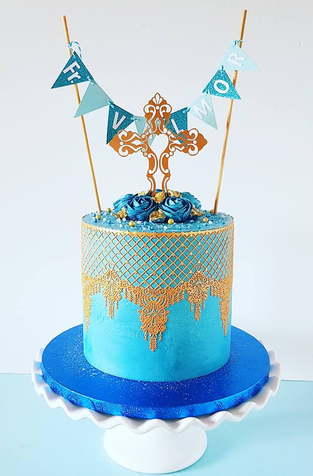 All Blue Gold Lace Cake