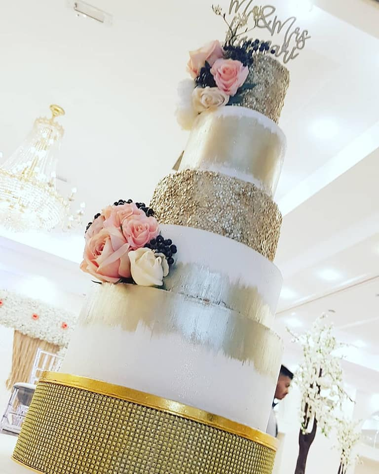 5 Tier Antique Gold and White Cake