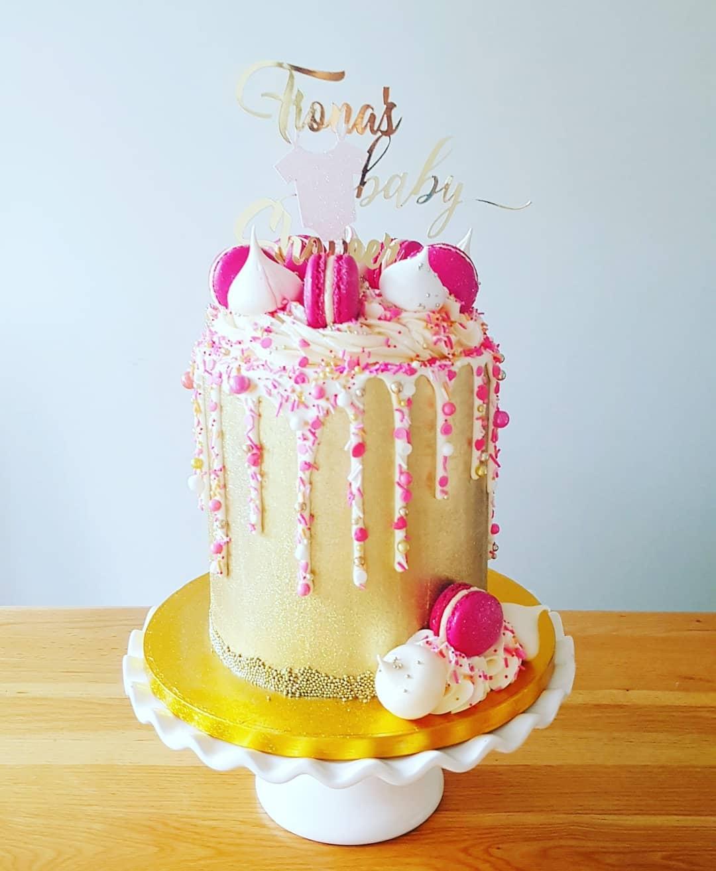 Sprinkle Drip and Macaron Cake