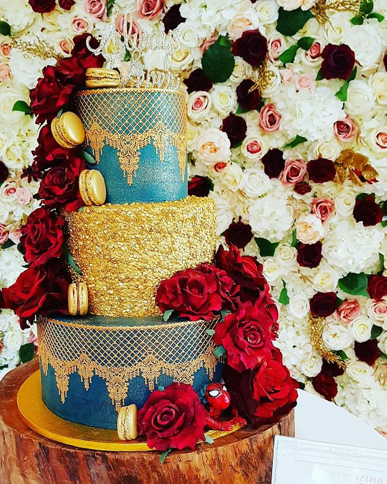 3 Tier Navy and Gold Cake