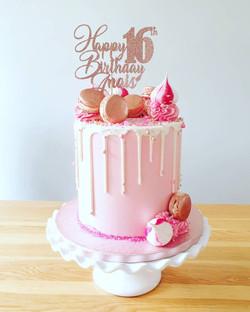 Pink Macaron drip cake