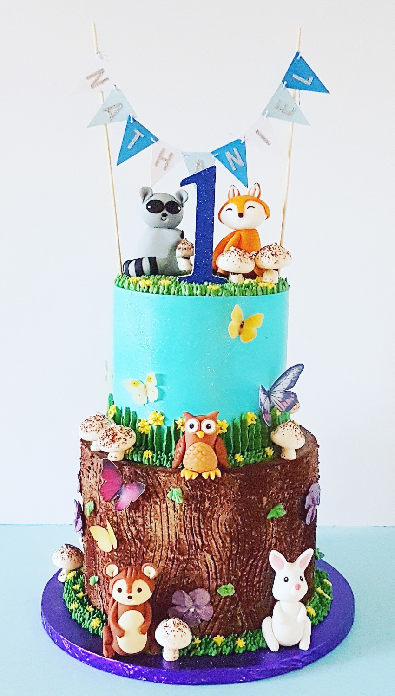 1st Birthday Woodland Cake