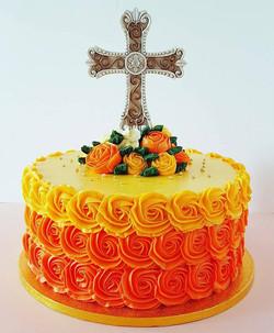 Rosette Swirl Ombre Christening Cake