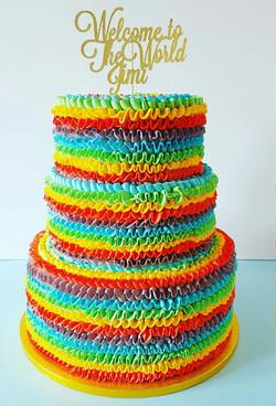 Three Tier Rainbow Ruffle Cake