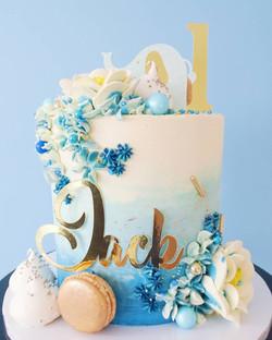 Blue Ombre 1st Birthday Cake