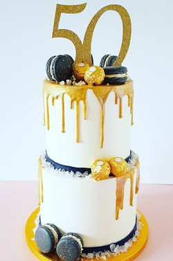 50th Anniversary Gold and Black Cake
