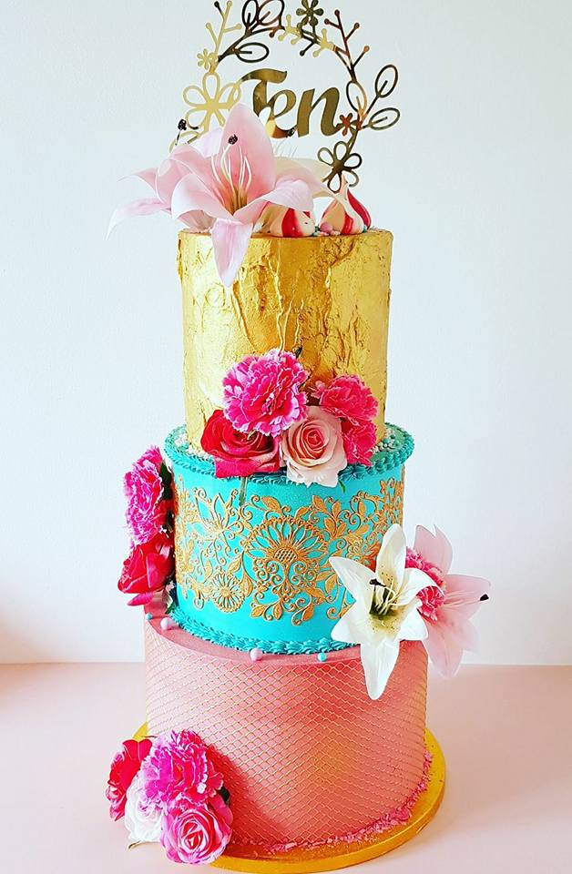 3 Tier Turquoise and Pink Birthday C