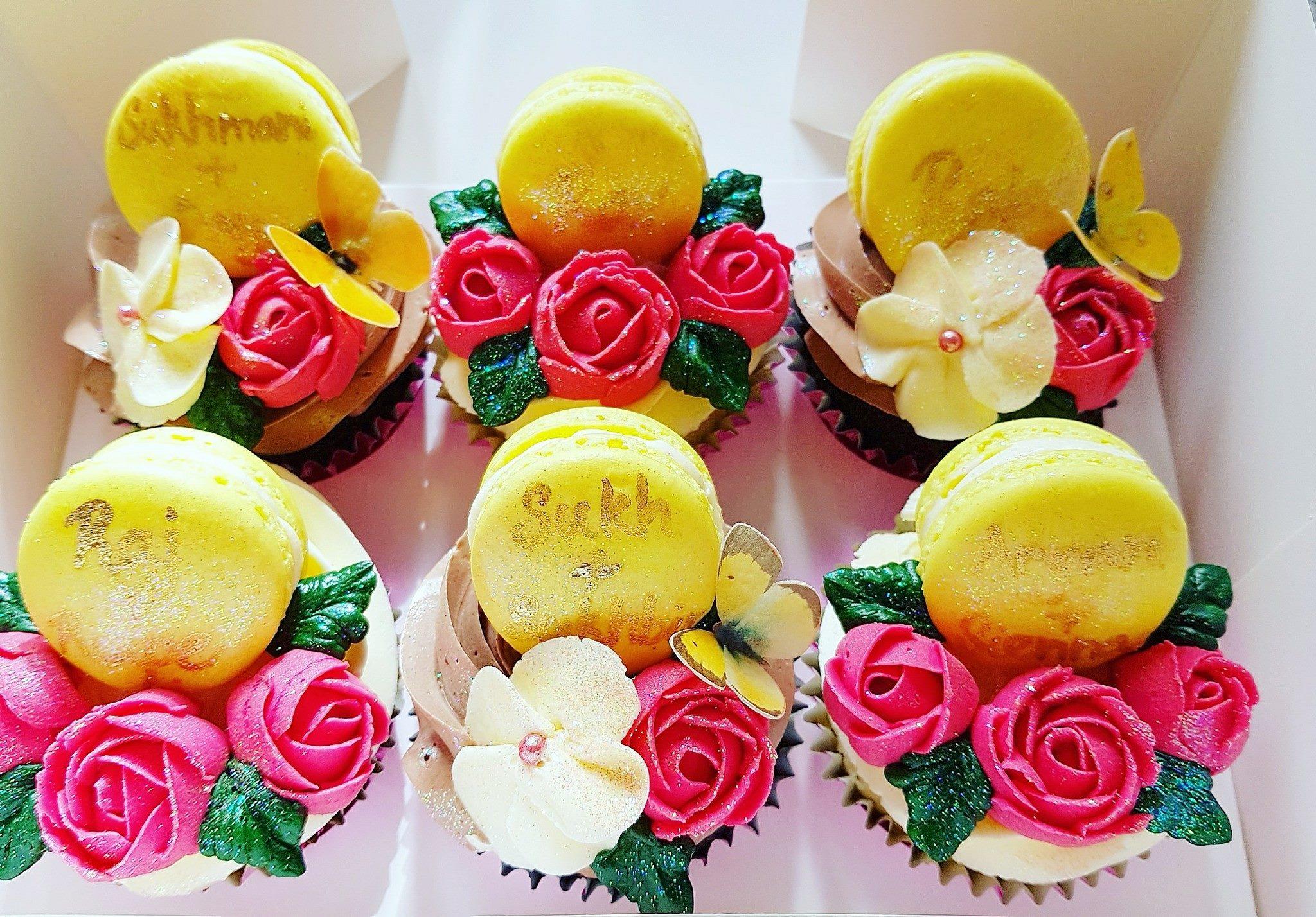Floral Macaron Cupcakes
