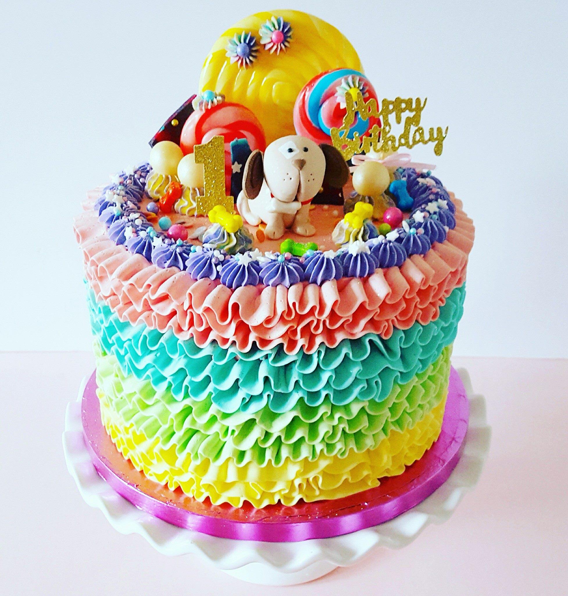 Rainbow Ruffle Puppy Cake