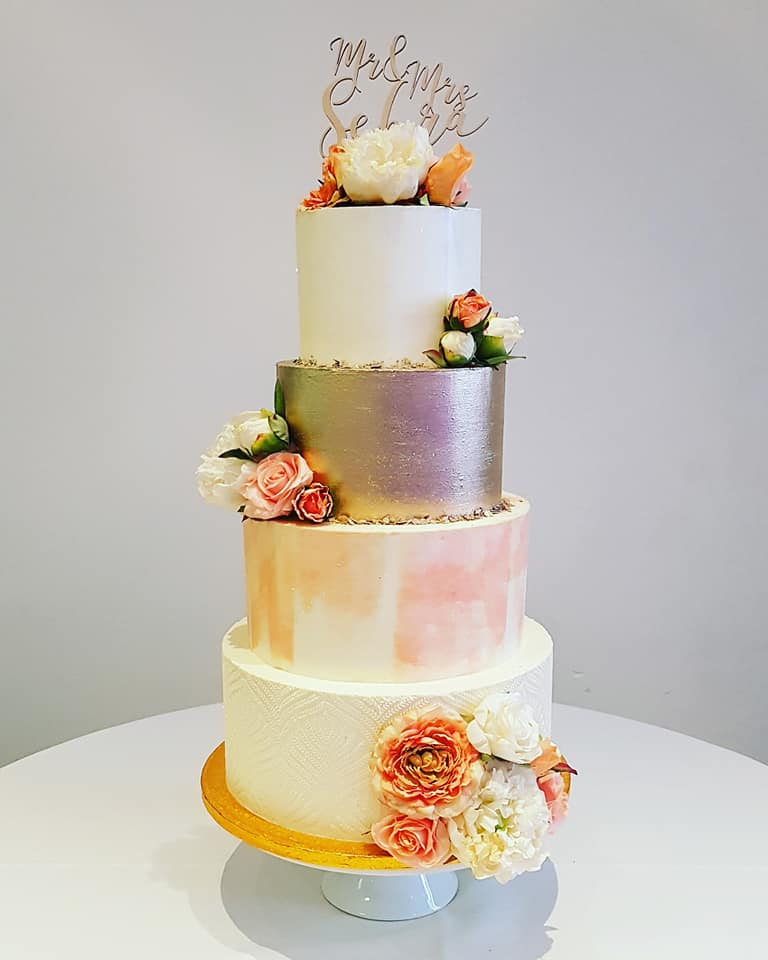 4 Tier Mixed Pattern Wedding Cake