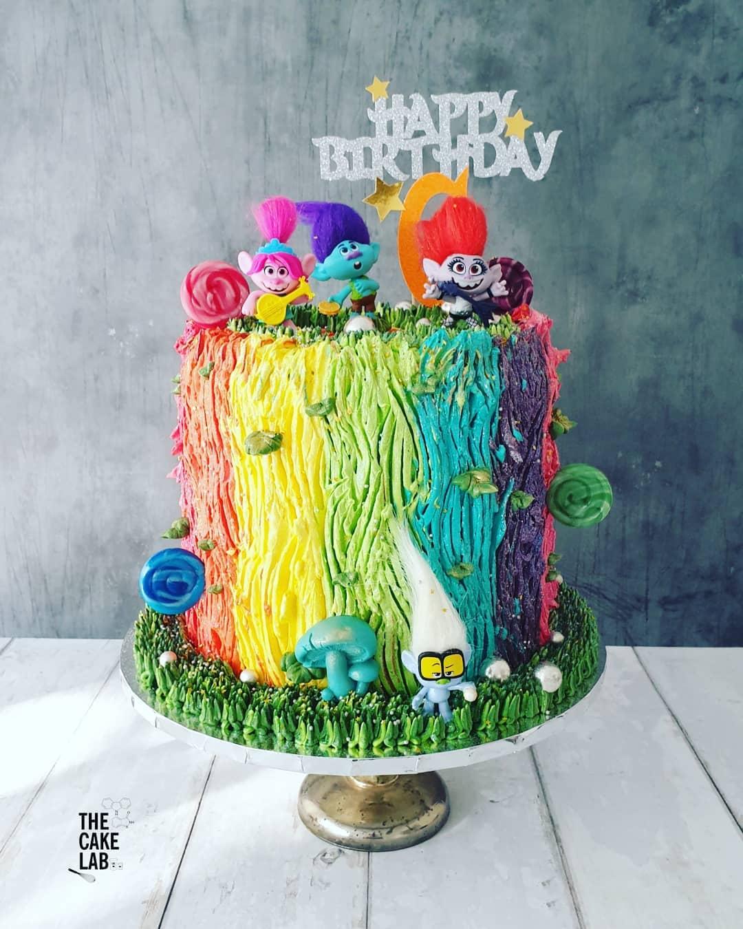 Rainbow Trolls cake