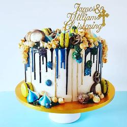 Blue, Green & Gold Christening Cake