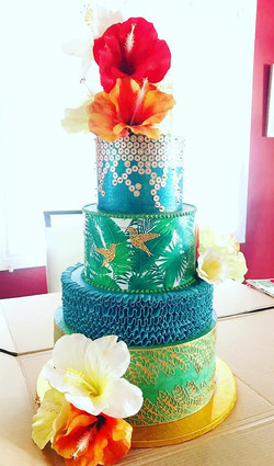 5 Tier Tropical Themed Wedding Cake
