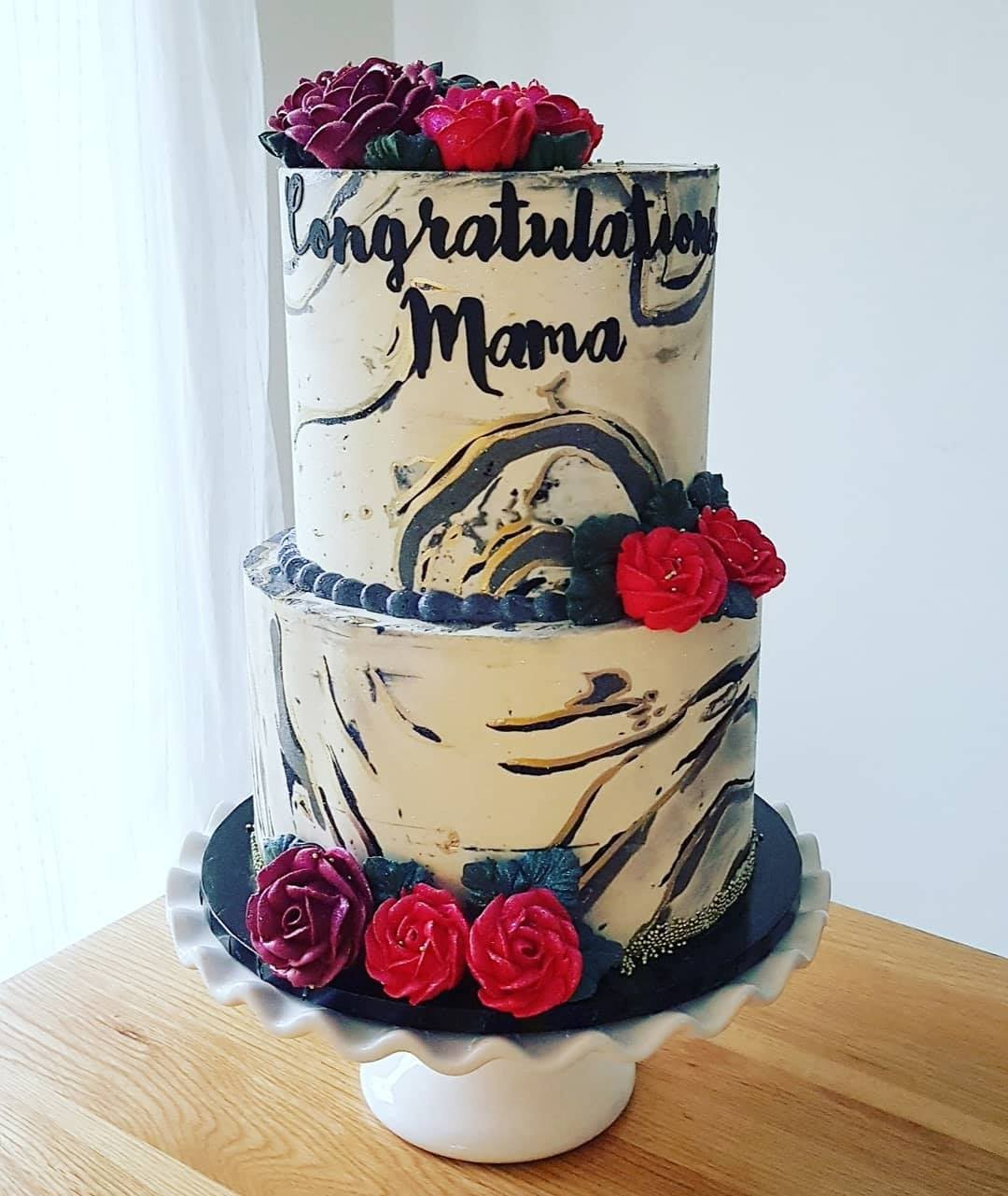 Marble cake with buttercream roses