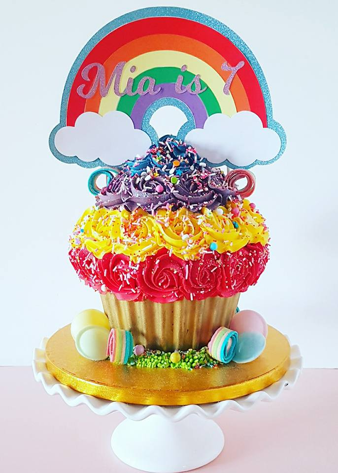 Rainbow Themed Giant Cupcake
