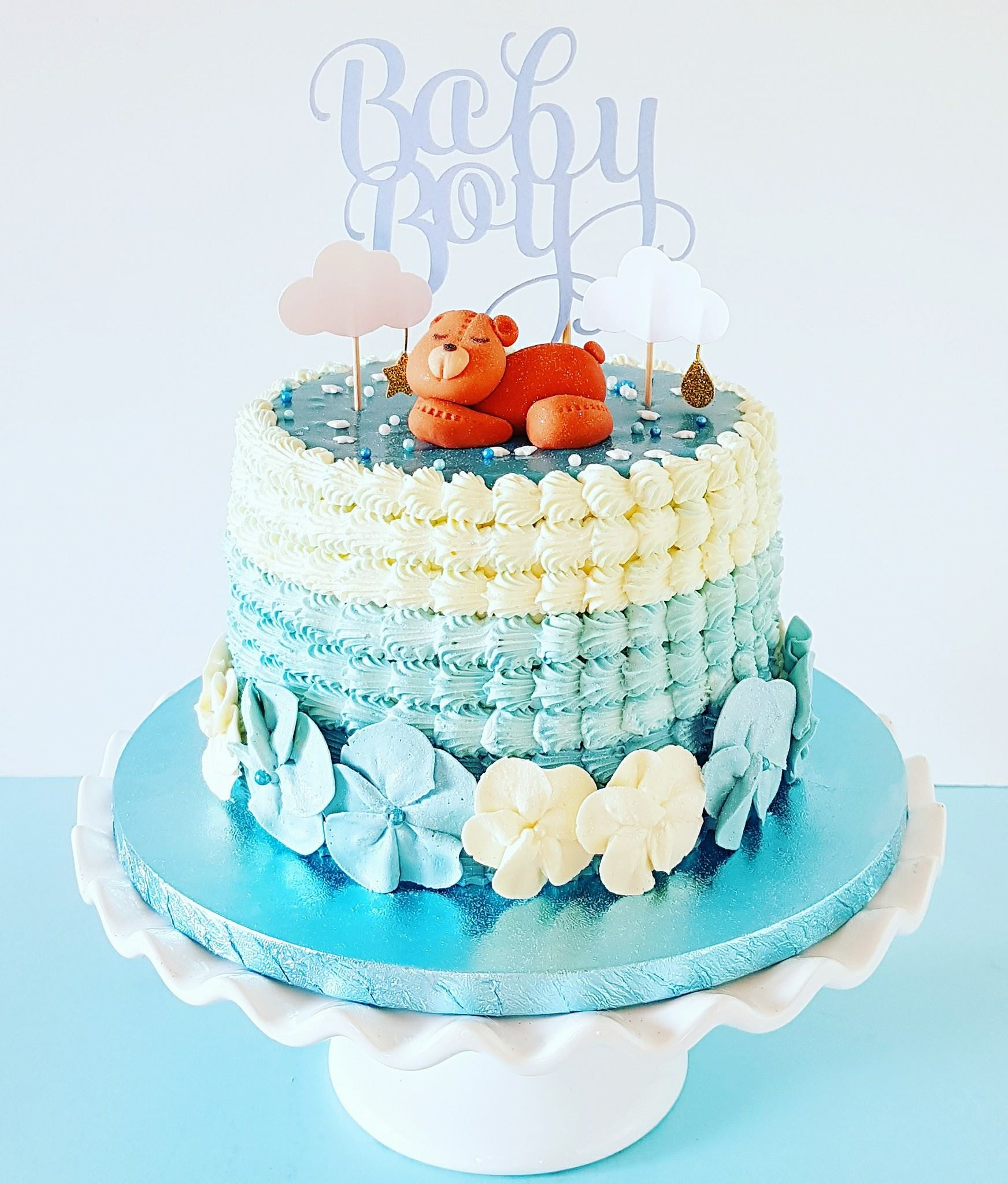 Blue Ombre Baby Shower Cake