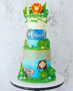 Blue & Gold Jungle Cake