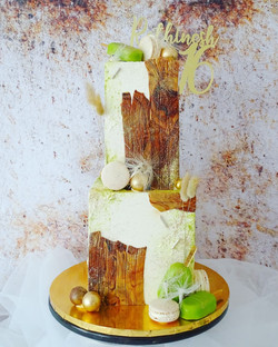 Wooden themed square cake