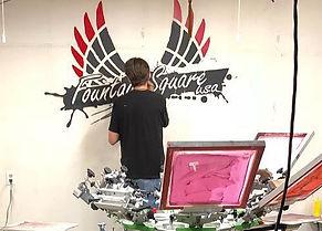 Painting logos - CS Stanley Indianapolis
