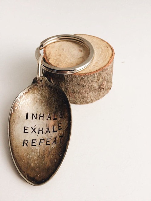 """Inhale Exhale Repeat"" Antique Spoon Keychain"
