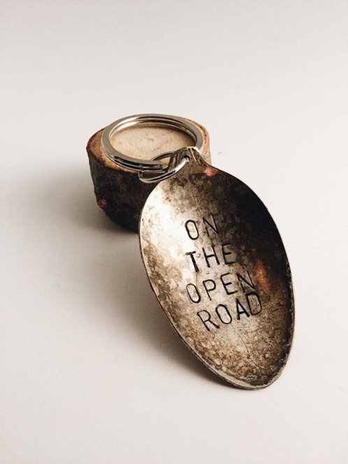 """""""On The Open Road"""" Antique Spoon Key Chain"""