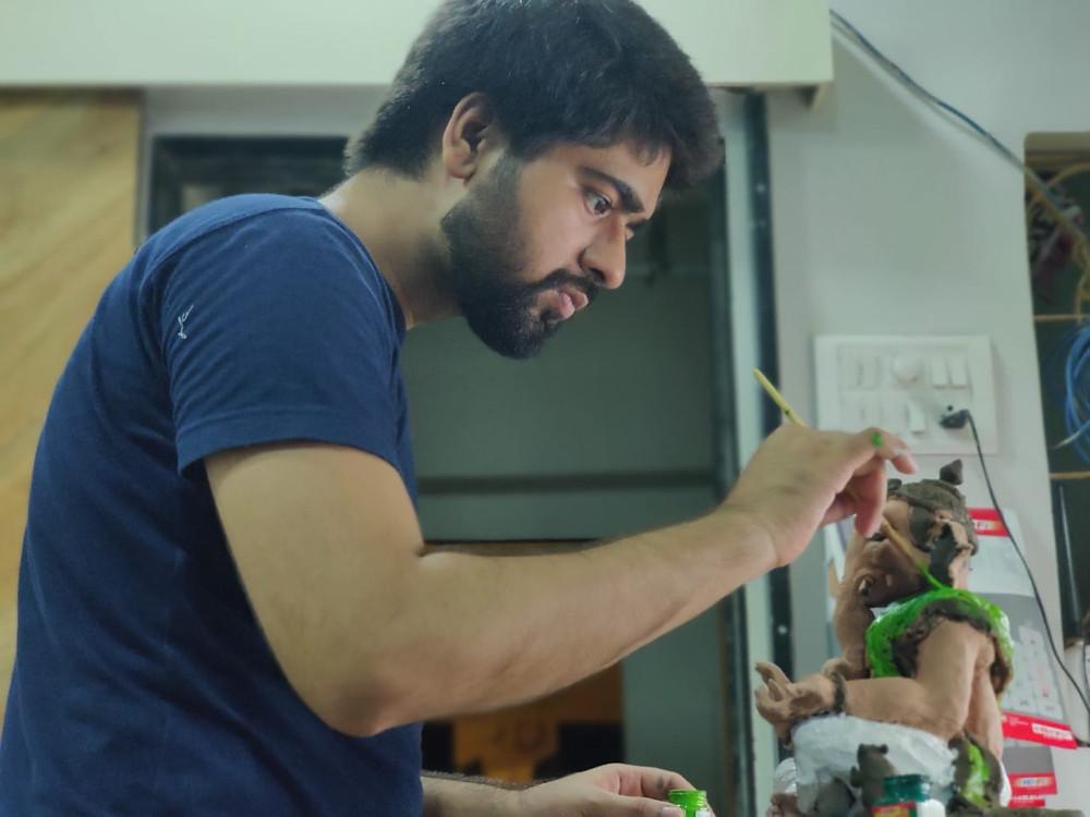 Painting the Ganpathi Idol