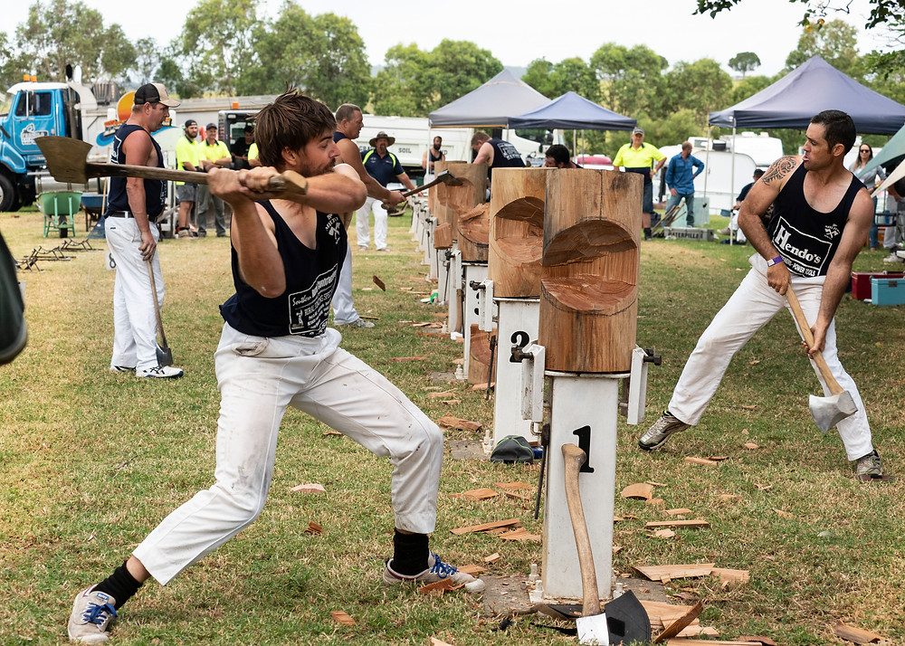 Strength, technique, woodchopping