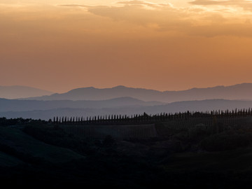 Sunset in Montalcino in Tuscany