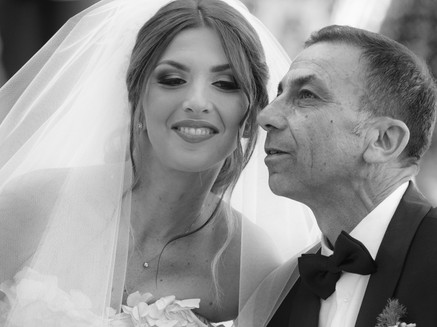 Beautiful bride and father in Bari