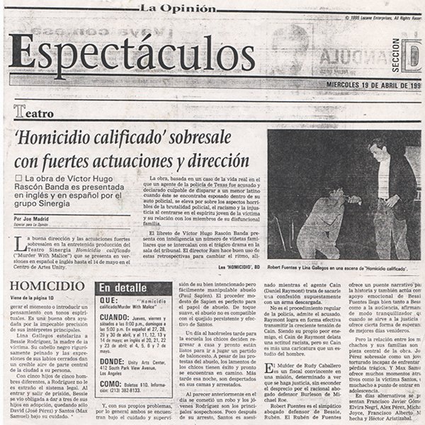 La Opinión Homicidio Calificado