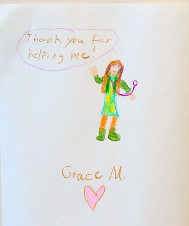 Picture a pediatric patient drew for Dr. Hillary Roland to thank her for making her better
