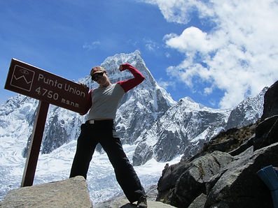 Dr. Hillary Roland at the 4,750m-high Punta Union pass in the heart of Peru's Cordillera Blanca mountains