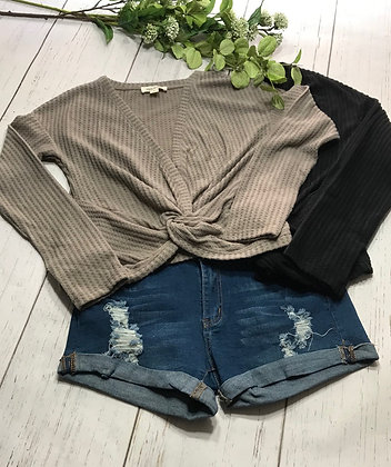 Knotted Waffle Knit Top