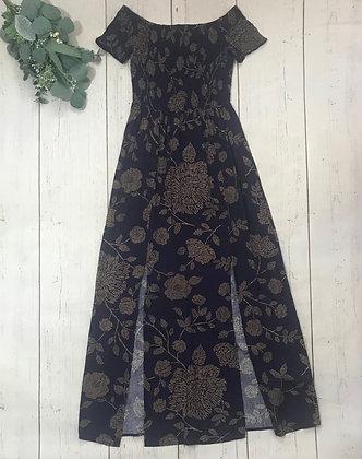 Smocked Off-the-Shoulder Maxi Dress