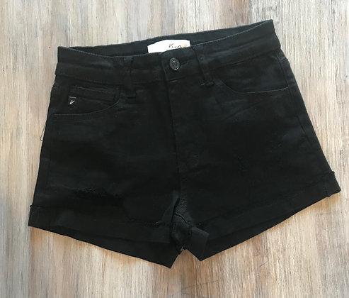 Black Distressed Jean Shorts