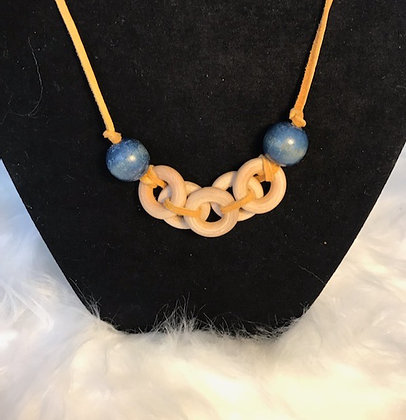 Yellow Leather Necklace With Wooden Beads
