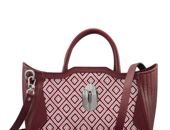 K010 Tote Red Textil & Leather
