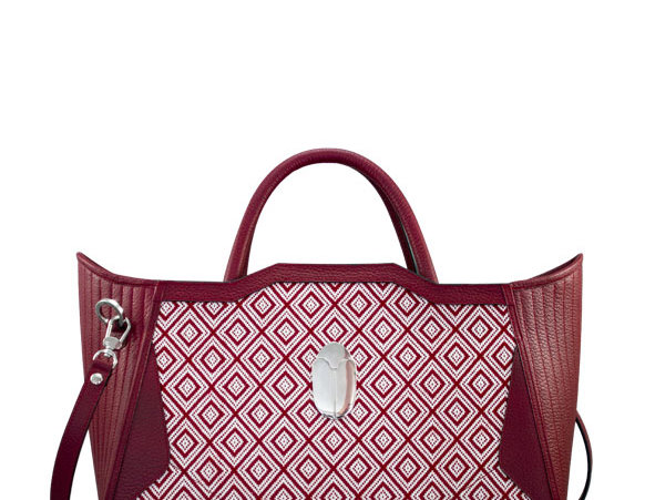 K010 Red Cotton & Leather Tote Bag