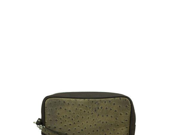 A06 Green Ostrich Clutch Bag