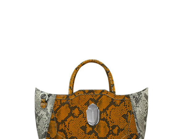 K010 Orange Python Mini Tote Bag