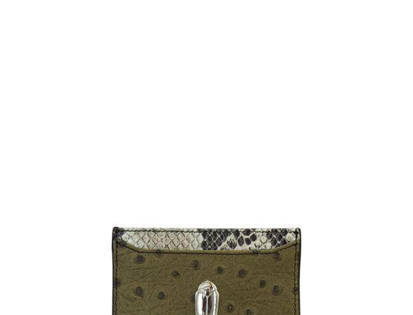 G01 Green Ostrich & Python Card Holder